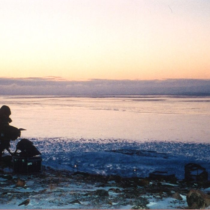 Setting up for a dawn shot on the hill overlooking Iqaluit and Frobisher Bay. Photo credit: André Boisvert.