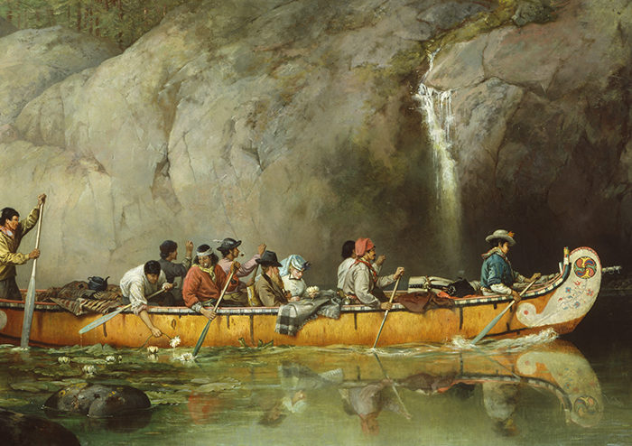 Frances Anne Hopkins, London, England 1838–London, England 1919, Canoe Manned by Voyageurs Passing a Waterfall, 1869, Oil on canvas, Library and Archives Canada Purchase, 1923.