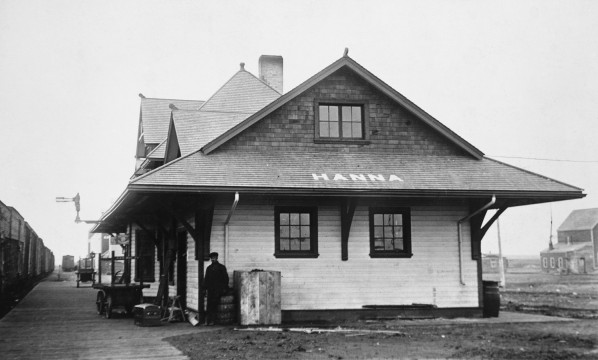 The train station that the town flocked to when the first passenger train arrived in November 1913. Photo courtesy of the Glenbow Archives.