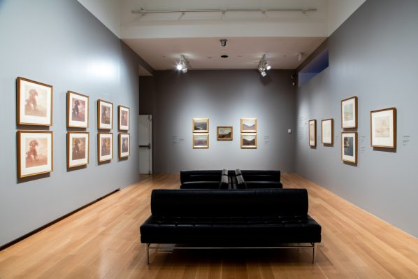 At the far end of the room are the oil paintings done by Dulac and on the lefthand side can be seen the variations of La Chapelle a Minerville. Photo: Dean Tomlinson © Art Gallery of Ontario.