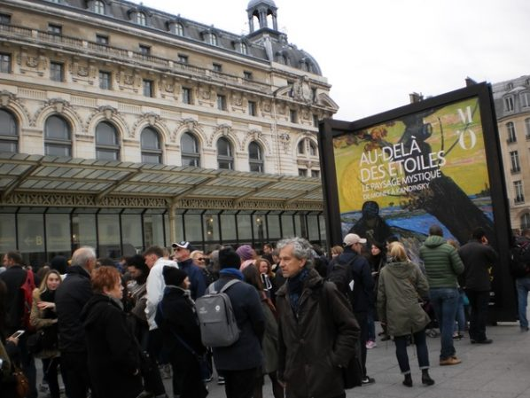 Crowds queuing outside the Musée d'Orsay in Paris to see Mystical Landscapes. By the time the show closes, close to three quarters of amillion people will have seen it.