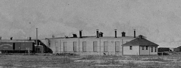 Rear view of the roundhouse as it appeared in 1915. Photo courtesy of the Hanna Roundhouse Society.