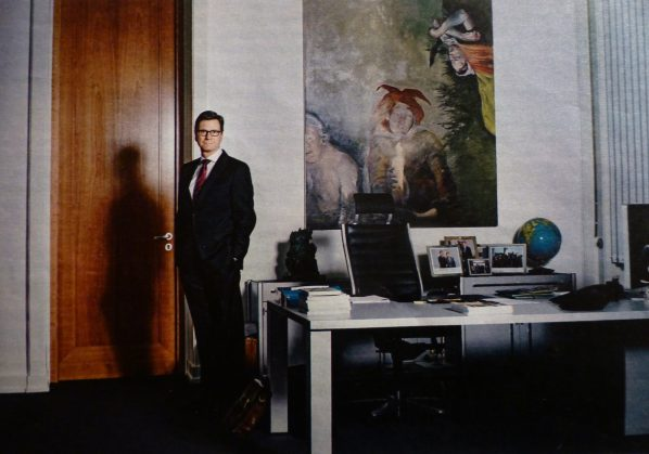 Former German Foreign Minister Westerwelle told Sakoh that he often felt like the juggling clown in the painting. Photo Credit: Süddeusche Zeitung