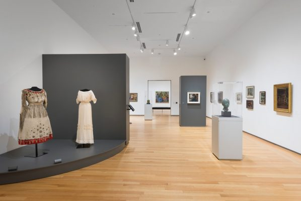 Pauline Johnson's Dress as seen in The Artist Herself: Self-Portraits by Canadian Historical Women Artists at Agnes Etherington Art Centre. Photo: Paul Litherland.