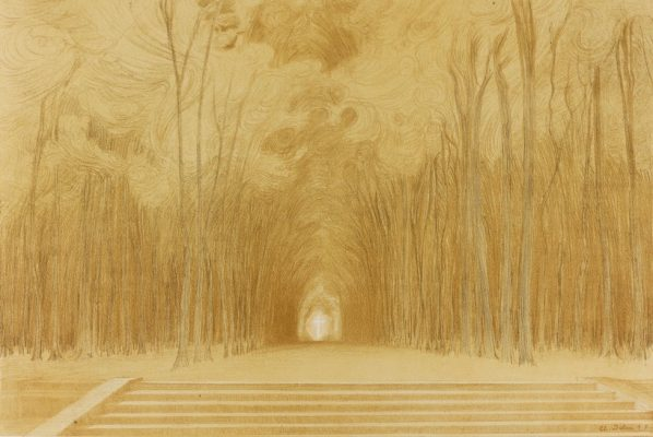 """Charles-Marie Dulac, French, 1865 - 1898, Jesu Coronoa Sanctorum Omnium Jesu Sapientia Aeterna, from """"Le Cantique des Créatures"""", 1894, lithograph on wove paper Art Gallery of Ontario. Purchased as a Gift of the Marvin Gelber Fund, 1997. Photo © Art Gallery of Ontario."""