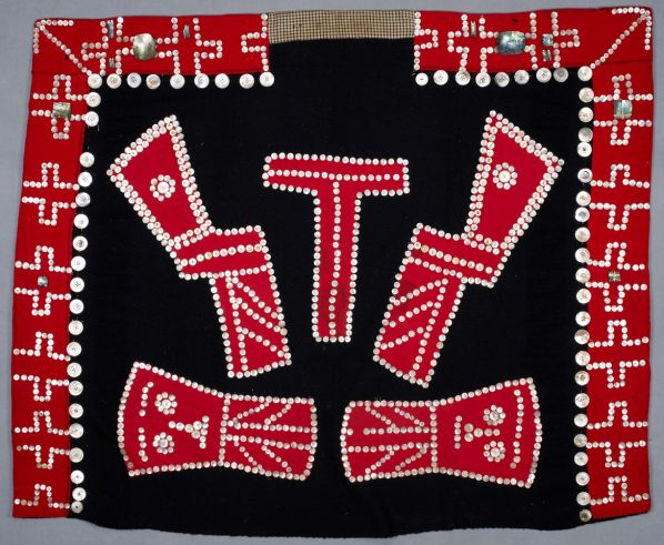 Marion Wilson (attributed to), Fort Rupert/T'sakis BC around 1892–1893–Comox BC, 1949, Button Blanket, Undated, Wool, mother-of-pearl, and abalone shell, Museum of Vancouver, Purchase, 1964.