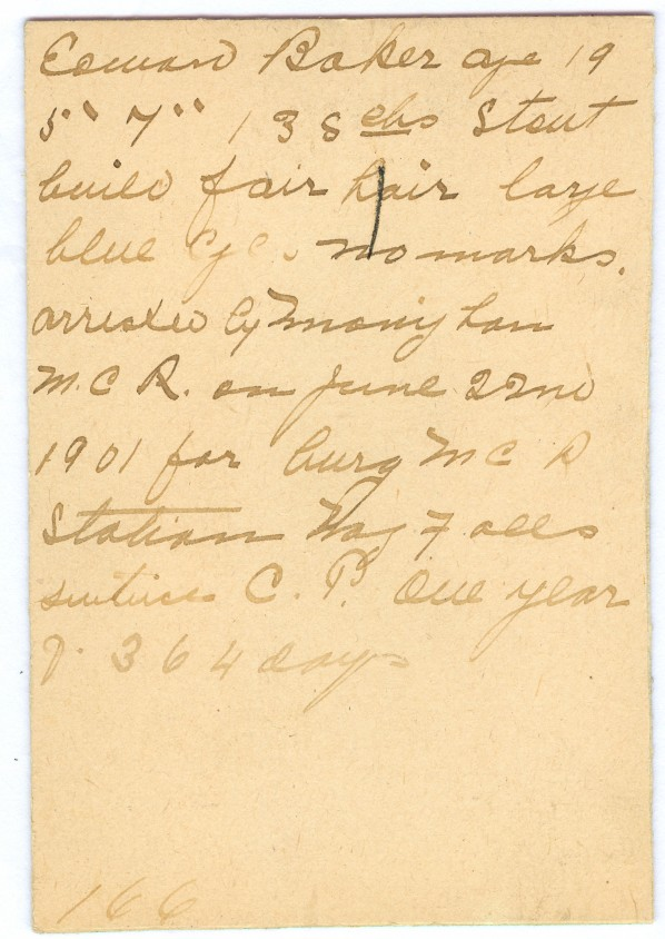 Lacking a form, the officer just improvised collecting salient details of Edward Baker. Image courtesy of The OPP Museum.