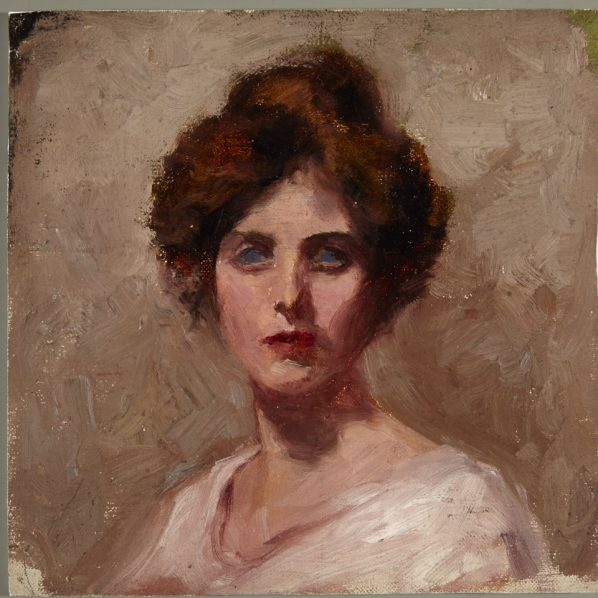 Bertha May Ingle, Puslinch Township ON 1878–Toronto ON 1962, Self-Portrait, Around 1901, Oil on canvas, Private Collection.