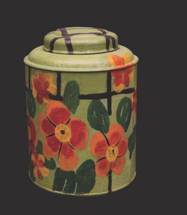 Maud Lewis, South Ohio (Nova Scotia), 1903 – Digby (Nova Scotia), 1970, Painted Cookie Tin with Flowers 1960s, oil on metal, Art Gallery of Nova Scotia, Halifax. Purchased by the Province of Nova Scotia.
