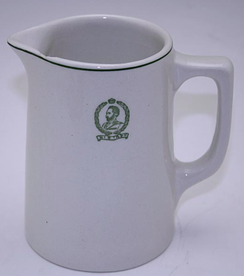 Creamer with image of Emperor Haile Selassie. Amongst Rastafarians, he is worshiped as the returned Messiah. Photo Credit: Medalta