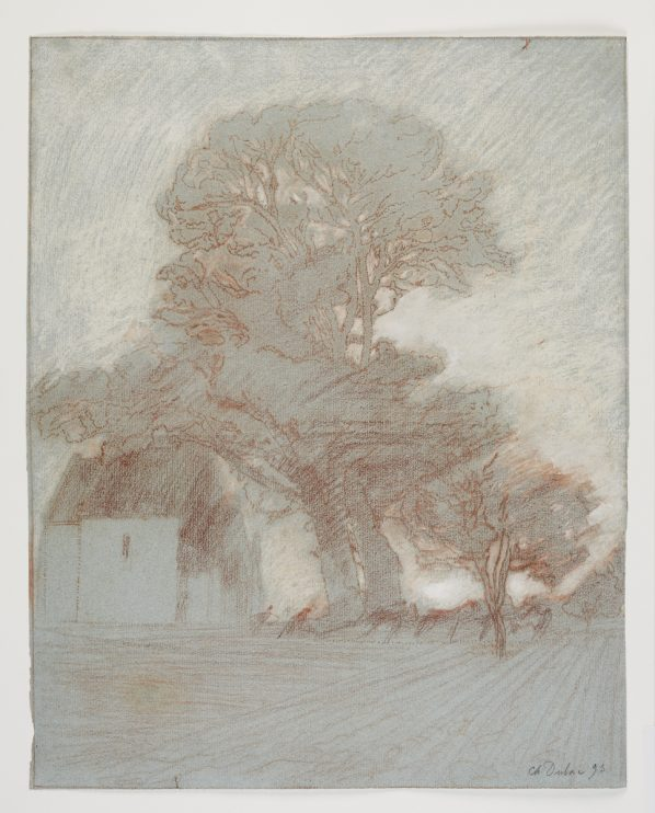 Charles-Marie Dulac, French, 1865 - 1898, La Terre, 1893 red chalk, pastel, opaque watercolour on blue laid paper. Art Gallery of Ontario. Purchased as a gift of Sam and Esther Sarick. Photo © Art Gallery of Ontario.
